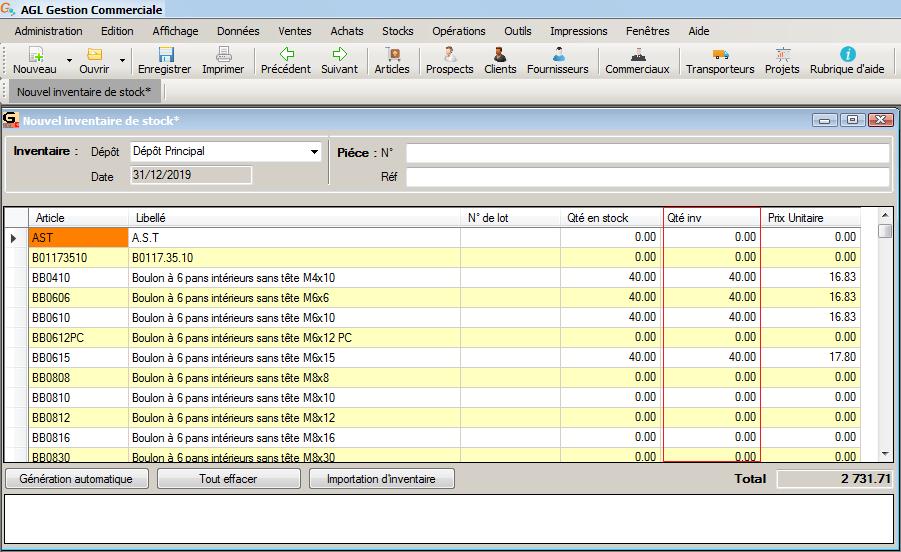 [object object] L' inventaire annuel des stocks avec le logiciel AGL Gestion Commerciale Inventaire Image 07